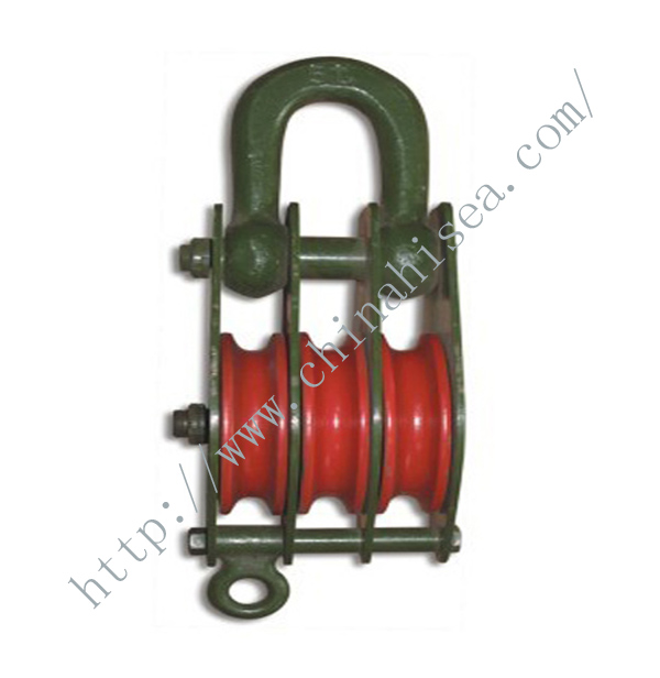 3 Wheels Sheaves Pulley Blocks with Closed Shackle