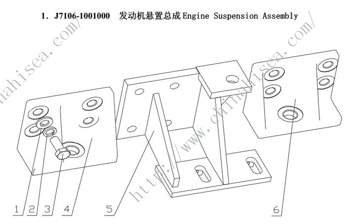 Yuchai Engine YC6108G (B7656) Suspension Assembly part list    J7106-1001000 list.jpg