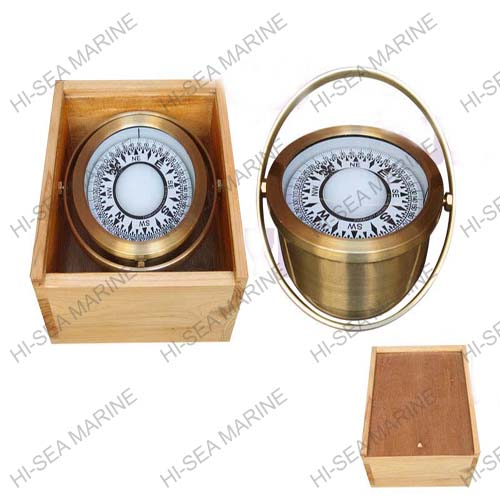 Brass Magnetic Compass in Wooden Box