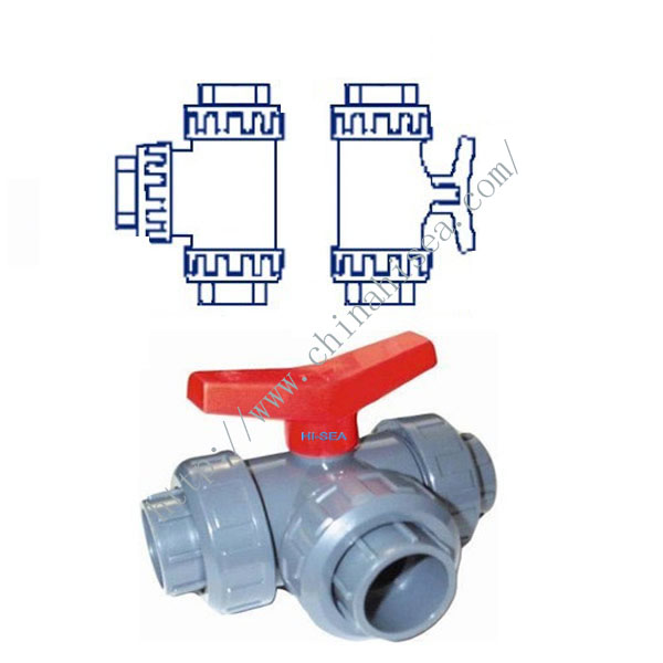 PVC-U Three Way Ball Valve Drawing Picture