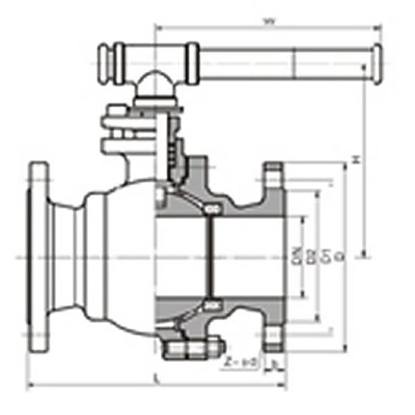 64 Bar Float Soft Sealing Ball Valve Schematic Drawing
