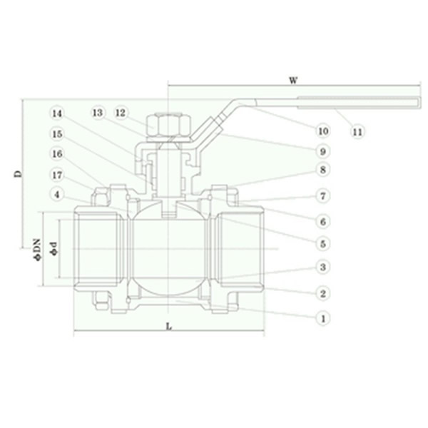 Three-piece Full Bore Ball Valve Pictorial Diagram