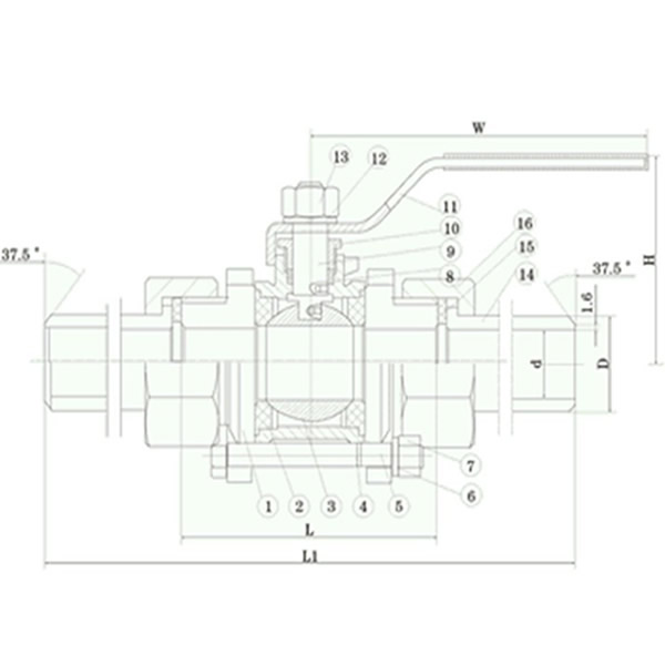 Three-pieces Stainless Steel Ball Valve Pictorial Diagram