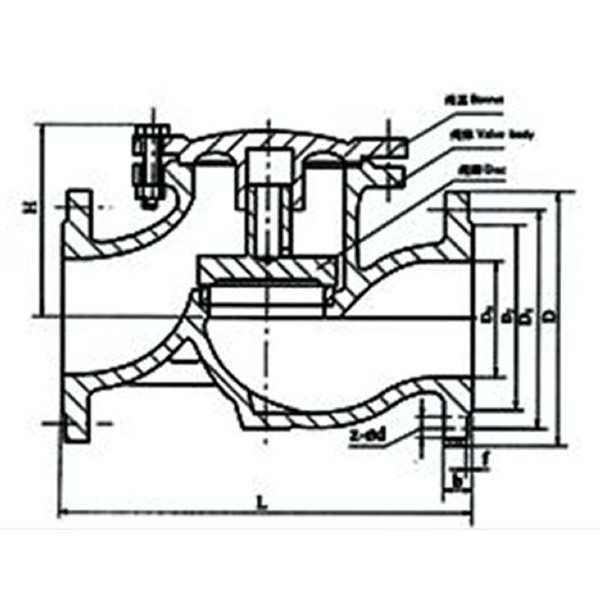 H41T Lift Check Valve Drawing