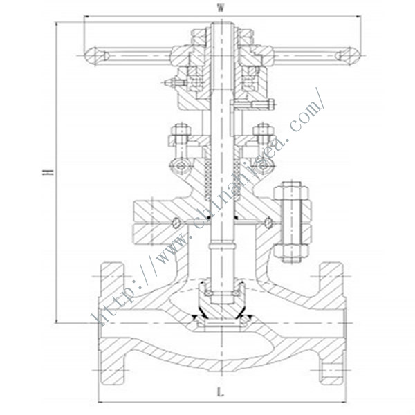 900LB Cast Steel Globe Valve Drawing