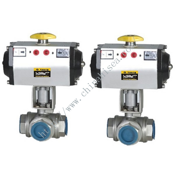 Three Way Pneumatic Ball Valve Detailed Picture