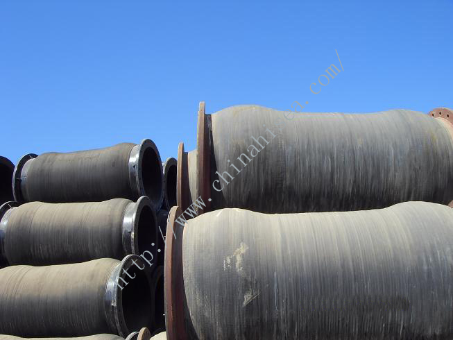 Flange dredging hose in warehouse.JPG