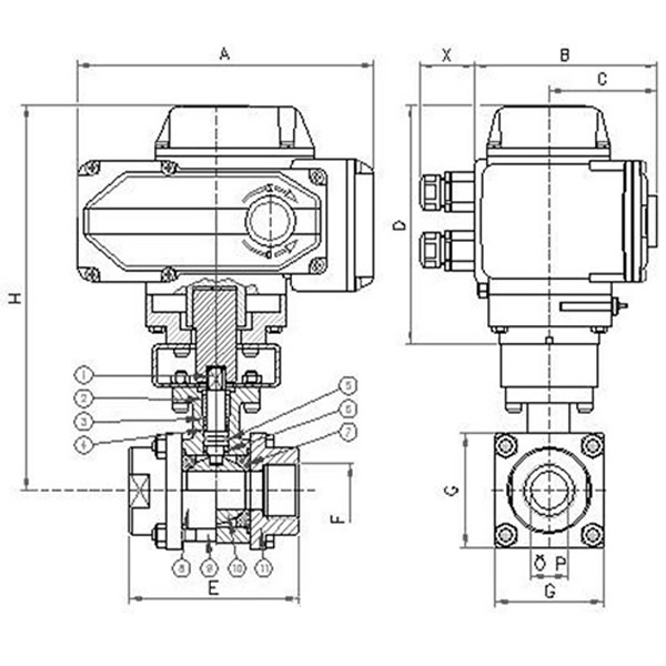 Electric Three Pieces Ball Valve Working Theory