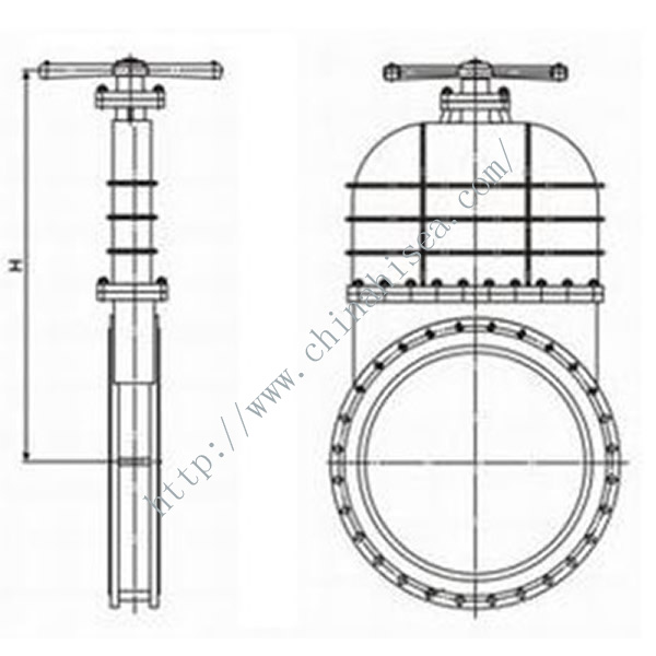 Cast Steel Knife Gate Valve Height Show