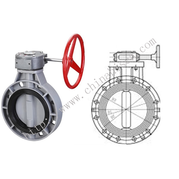 Gear Type Butterfly Valve Drawing