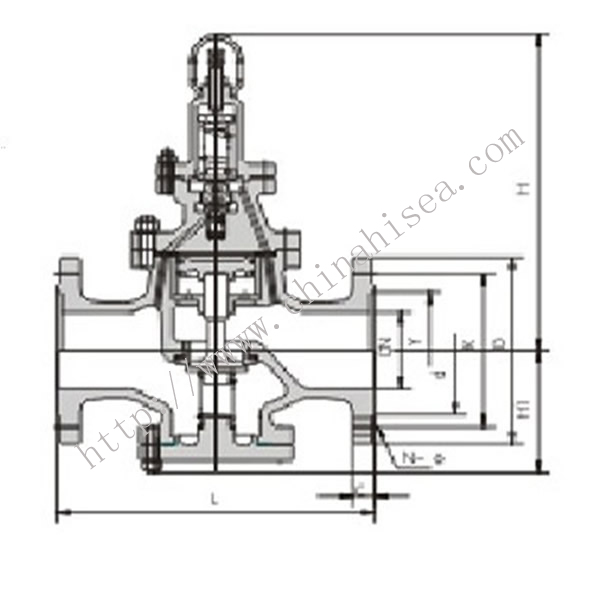 Flange Type Reducing Pressure Valve Drawing