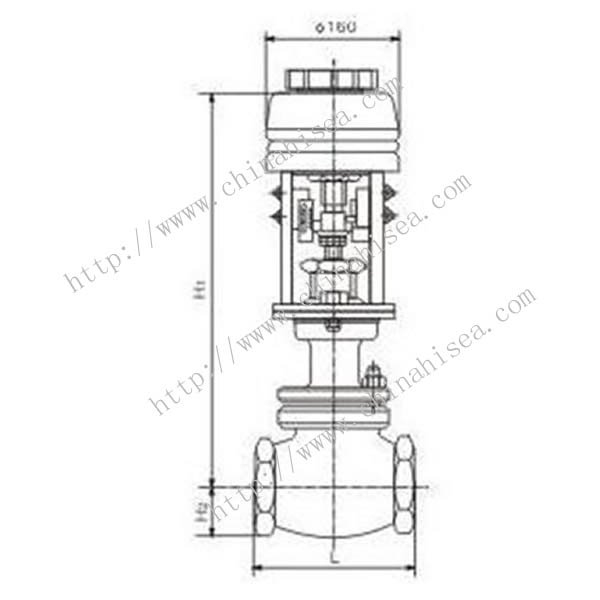 Electric Single Seat Adjusting Valve Drawing