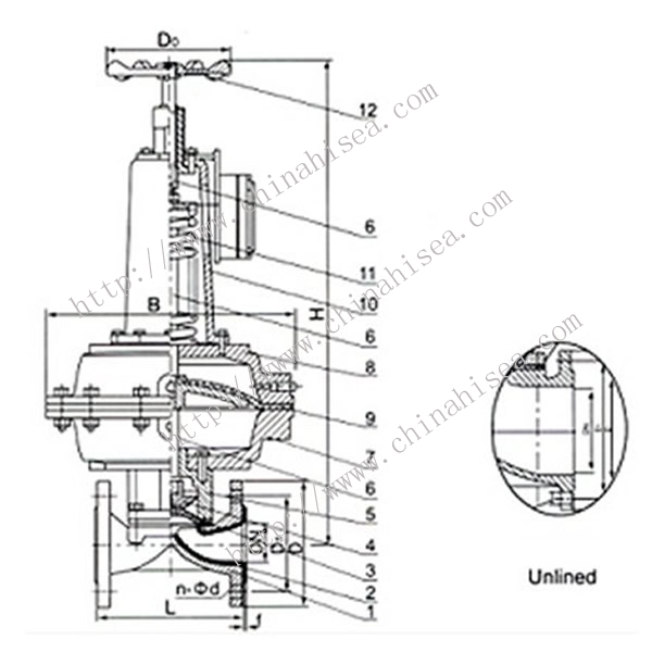 Normally Opened Pneumatic Diaphragm Valve Drawing