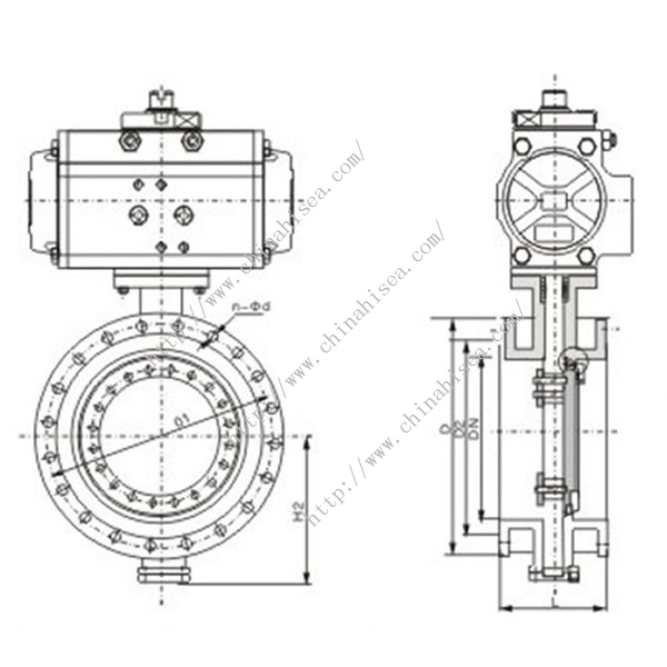 Pneumatic Flange Butterfly Valve Drawing