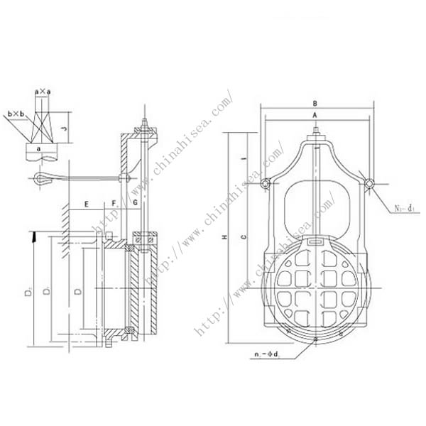 Round Sluice Gate Valve Drawing