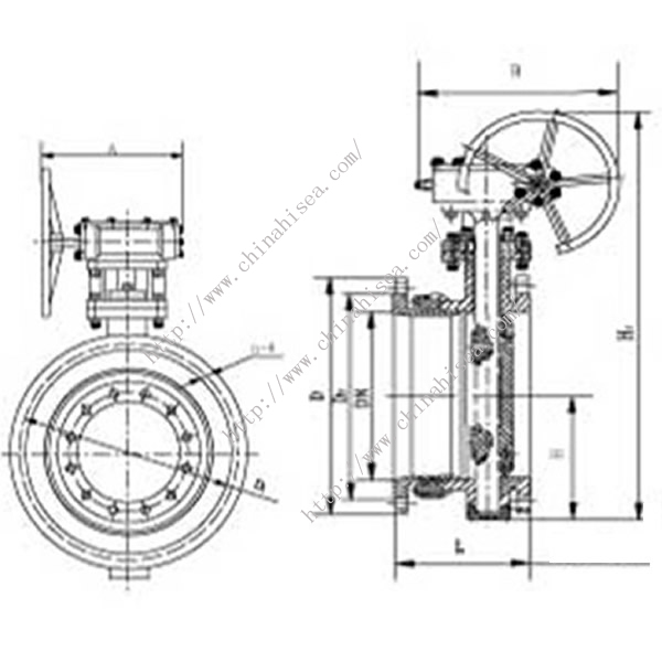 Worm Driven Expansion Butterfly Valve Drawing