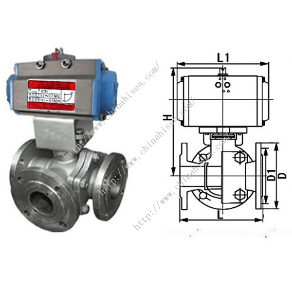 T Type L Type Three Way Ball Valve Electric Operation